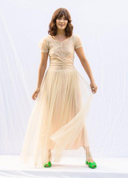 Vintage 1930's Sheer Wedding Dress - Cream