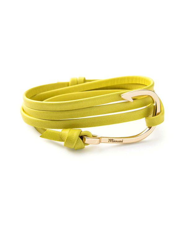 Miansai Gold Fish Hook And Yellow Leather Wrap Bracelet