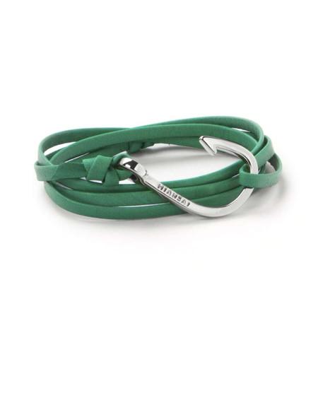 Unisex Miansai Leather Wrap Bracelet with Silver Fish Hook - Kelly Green