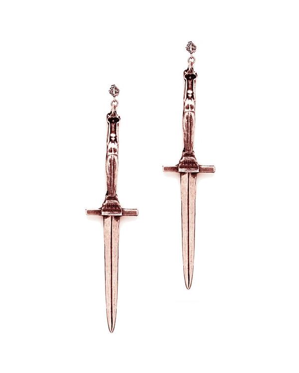 Pamela Love Dagger Earrings in Rose Gold