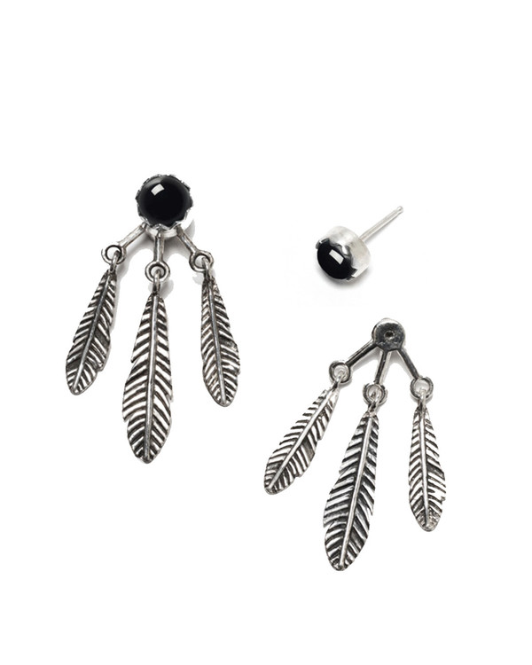 Pamela Love Frida Ear Jacket in Sterling Silver & Onyx