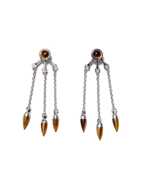 Pamela Love Sterling Silver Three Stone Ear Jackets with Tiger's Eye