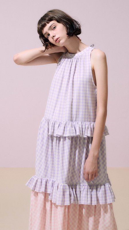 Neul Frilled Gingham Print Trapeze Dress - Purple Rose/Pink Salt