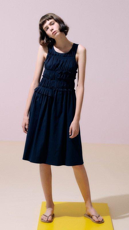 Neul Smocked Shirring Dress - Navy