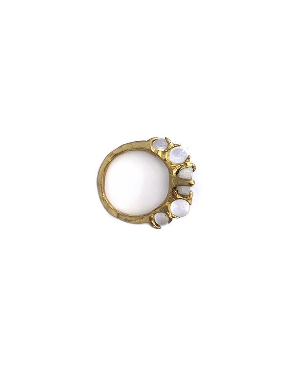Unearthen Limarens Ring in Brass with Tabasco Geode + Quartz