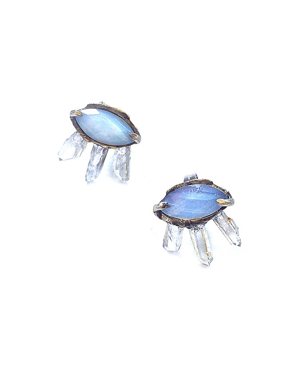 Unearthen Silver Eye Crown Earrings with Moonstone and Amethyst