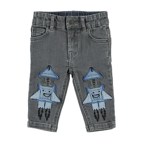 Kids Stella McCartney Pants With Rocket Patches - Grey Denim