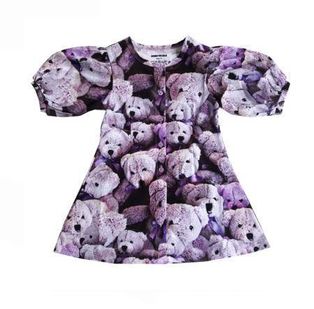 Kids Romey Loves Lulu Purple Bears Puff Sleeve Dress