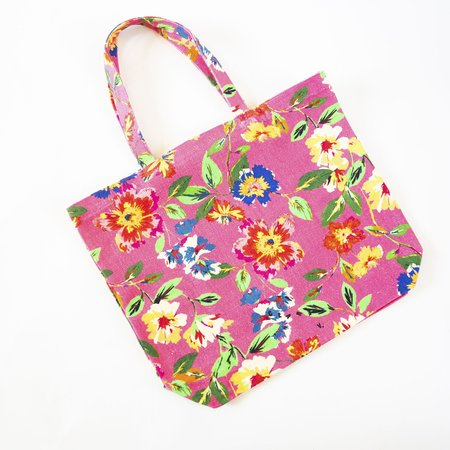 Clare V. Saturday Tote - Floral Canvas Pink