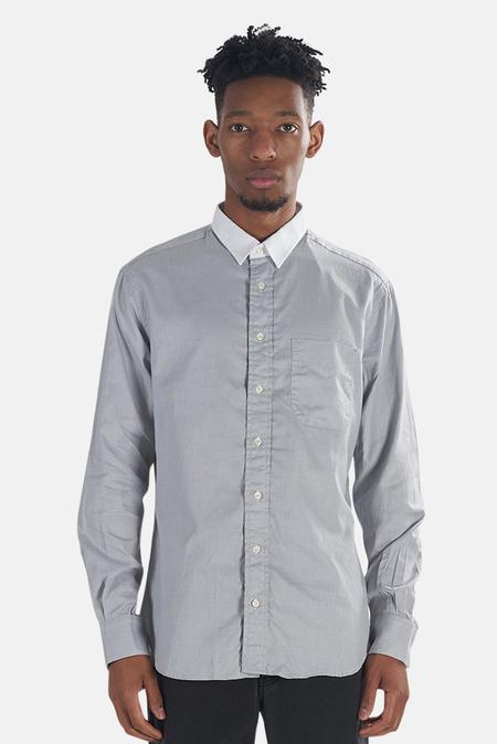 Blue&Cream Key Collar Button Down Top - Grey White