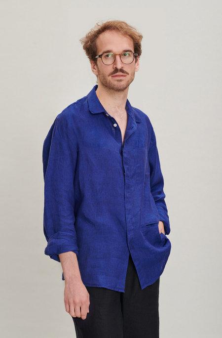 Delikatessen Round Collar Linen Shirt - Cobalt Blue