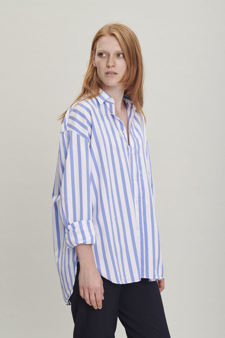 Delikatessen Rider Cotton Shirt - Blue Stripes