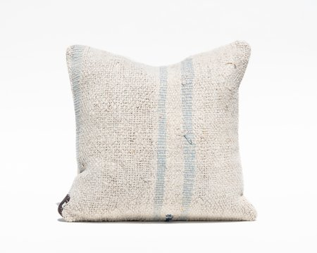 Collected by Wynne Ware Blue Stripe Turkish Hemp Pillow Cover - Natural