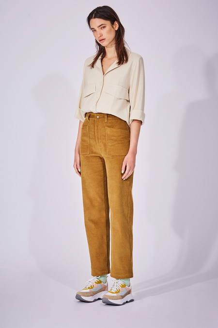 Eve Gravel Fortune Teller High Waisted Cotton Corduroy Pants - Sepia
