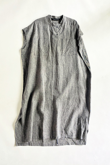 Mizuiro Linen Pocket Dress - Black/White Houndstooth
