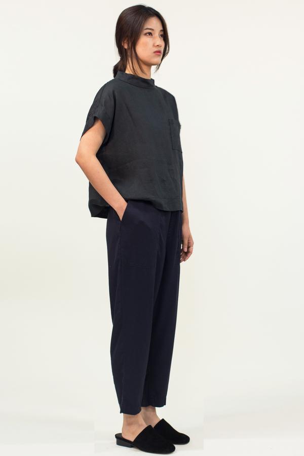 Universal Tissu French Linen Top- Black