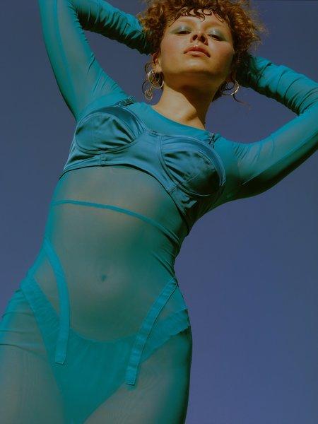 Serpenti Blond Ambition Satin Bra - Blue