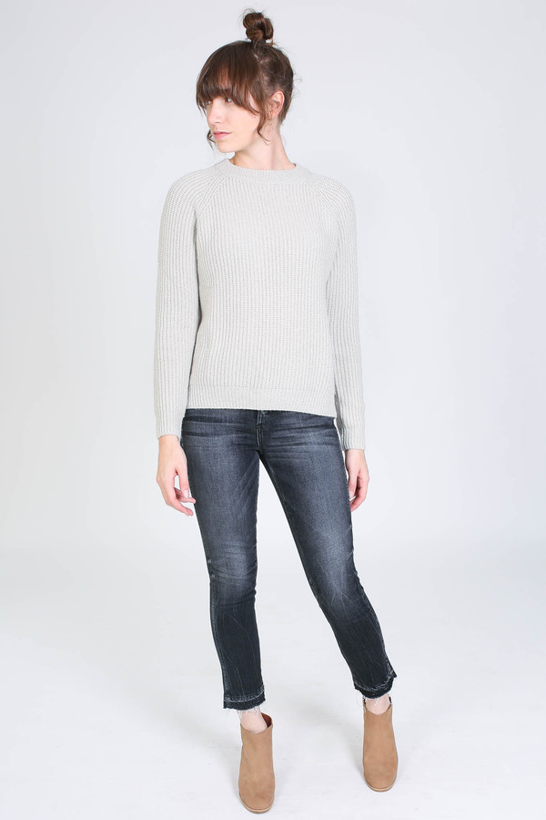 Evam Eva Wool cashmere raglan pullover in antique white