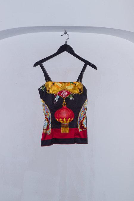 Vintage Dolce & Gabbana SILK PRINT BUSTIER CAMI TOP - MULTI