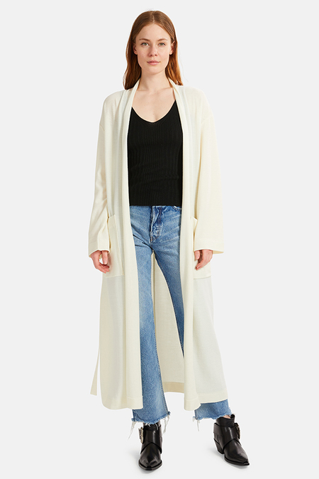 Moussy Wool Long Cardigan - White