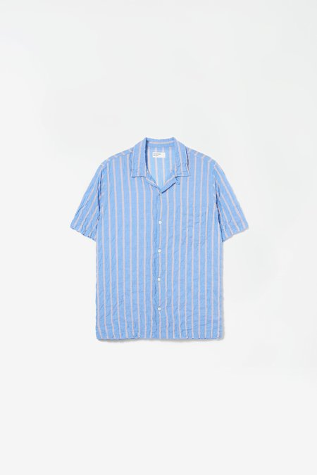 Universal Works Road shirt in ranch stripe - pale blue