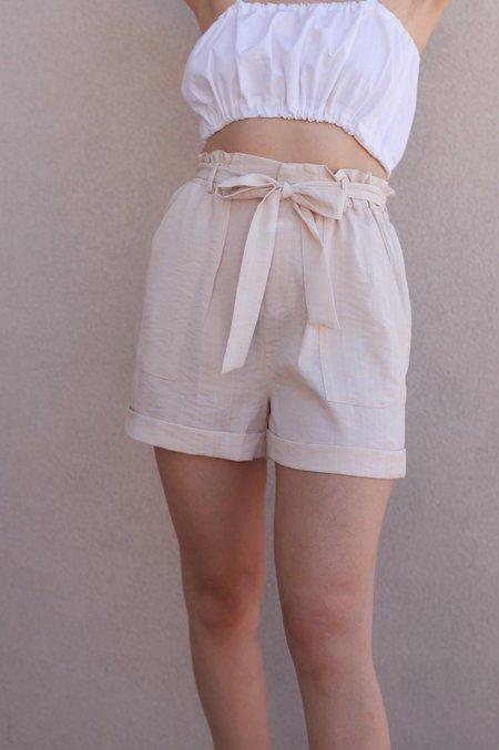 FRNCH High Waist Tie Shorts - Beige