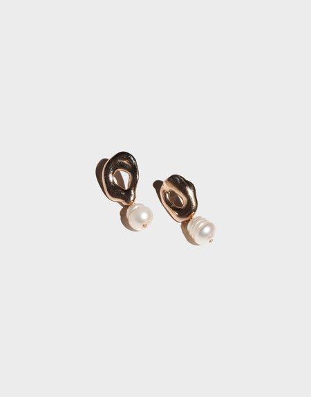 Modern Weaving Petite Pearl Drop Earrings - Bronze Freshwater Pearl
