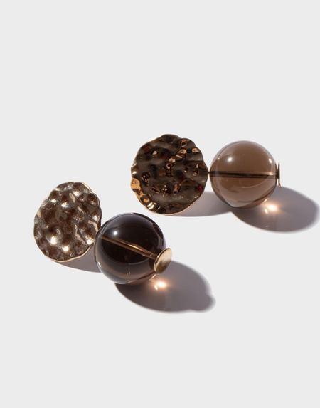 Modern Weaving Petite Textured Globe Earrings - Smoky Quartz