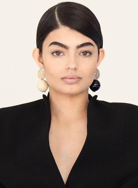 Modern Weaving Textured Globe Earrings - Creme/Transparent Amber
