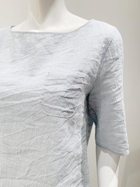 A Putno B Seersucker Textured 1/2 Sleeve Top - Baby Blue Stripe