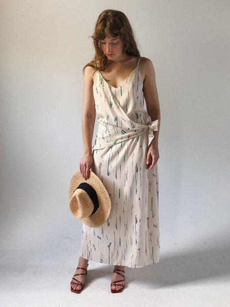 Deventi Patterned V-neck Dress