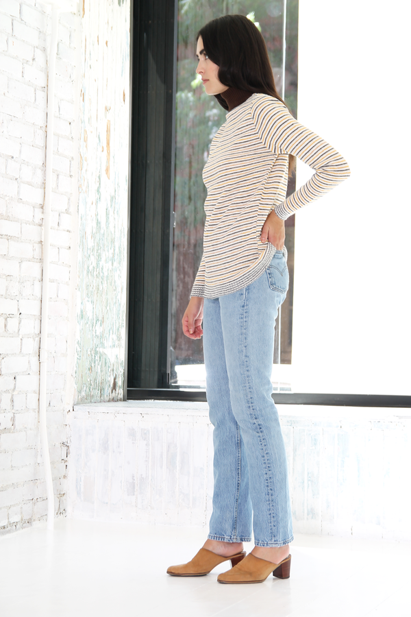 DUO NYC Vintage Knit Stripe Mockneck