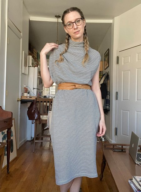 Meg Shoulder Pleat Tank Dress - Stripe