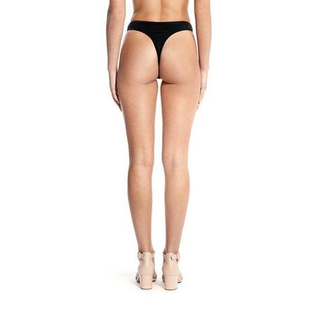 Beth Richards High-Waisted Thong Bikini Bottom - Black