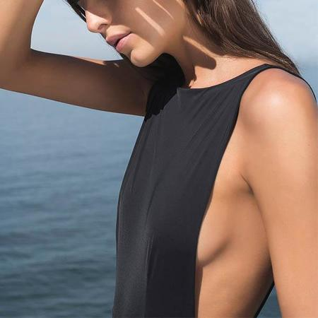 Haight Side Slit 1 Piece Maillot - Black