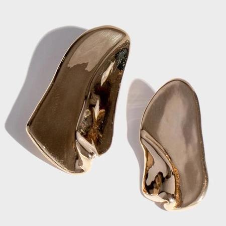 Modern Weaving Overlay Stud Earrings - Brass High Polish