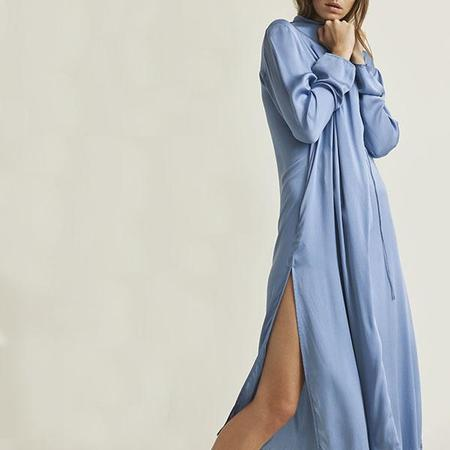 Skin Thea Washable Silk Wrap Robe - Periwinkle