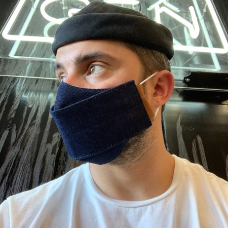 Phoenix General Origami Denim Face Mask with Leather and Cord