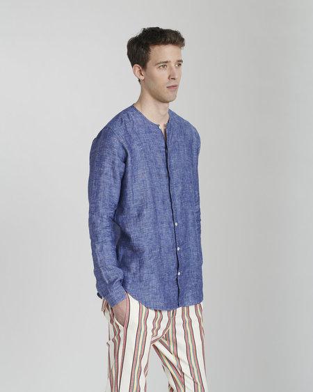 Delikatessen Bohemian Linen Stand Up Collar - Blue