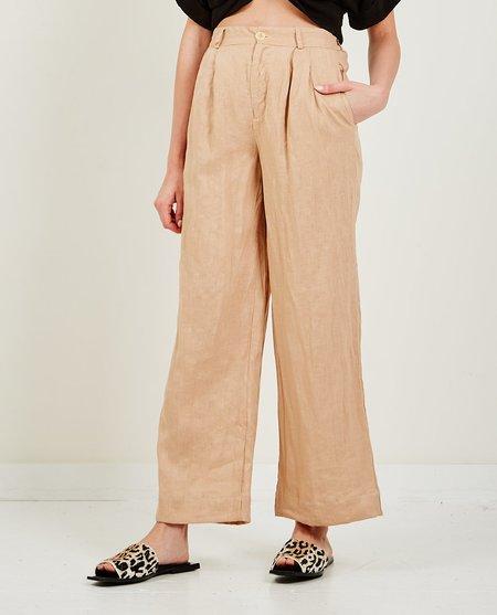 Stateside Linen Tailored Wide Leg Pant - Almond
