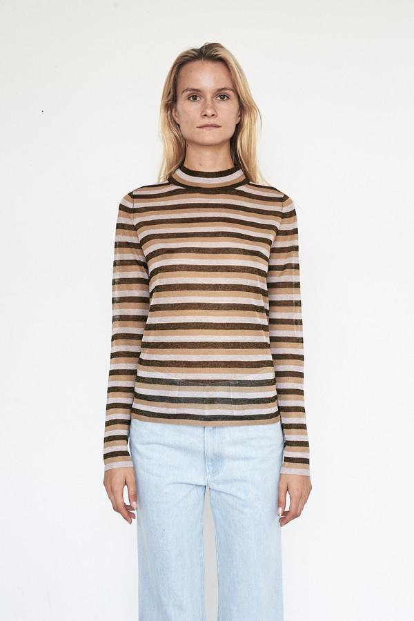 Pari Desai Metallic Raz Stripe Sweater