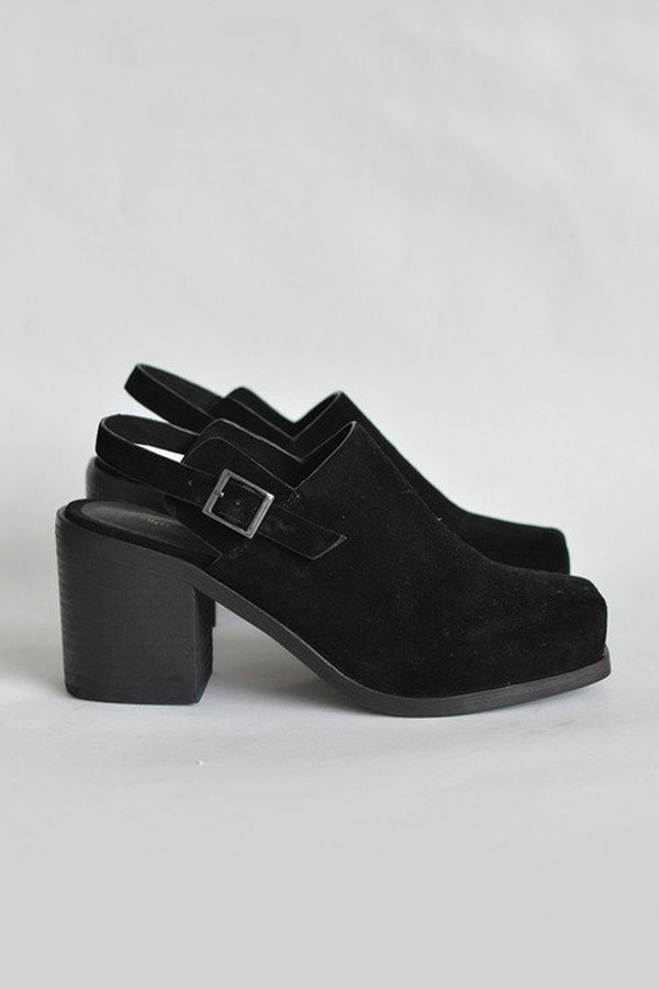 Intentionally Blank Suede Honcho Heel - Black