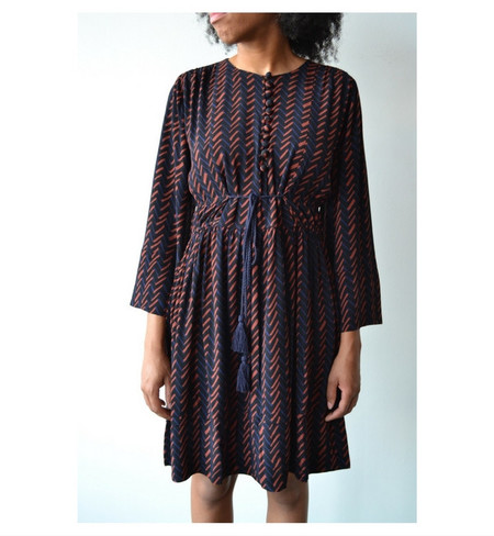 Apiece Apart Navy Hatch Print Upaya Dress