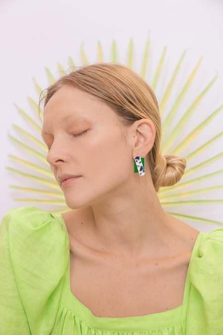 Matter Matters Double Rec Earrings - Snow Green
