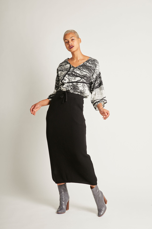 H. Fredriksson Alex Crop Top in Trees Silk Twill