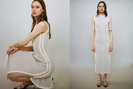 Kepler Stitch Dress - Cream