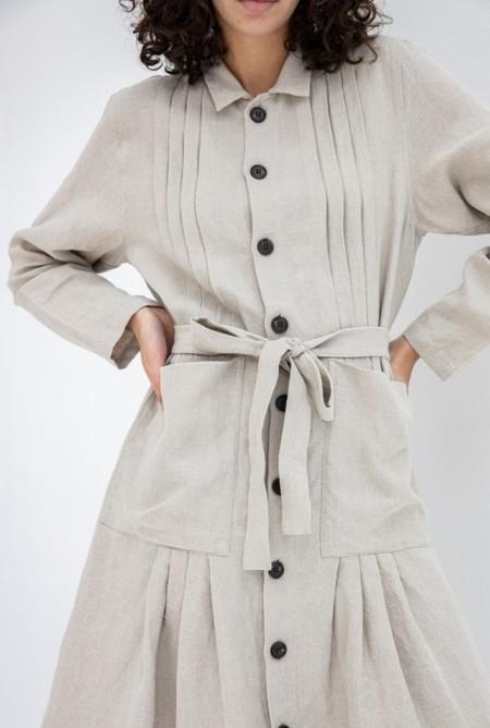 Ichi Antiquites Linen Dress - Natural