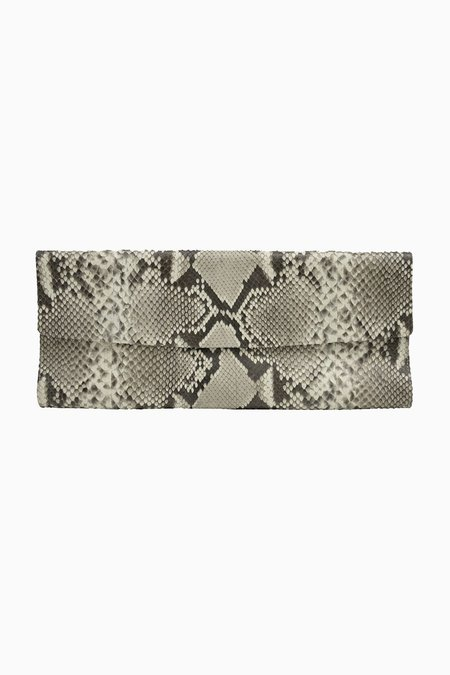 Primary New York Linear Python Clutch - Taupe