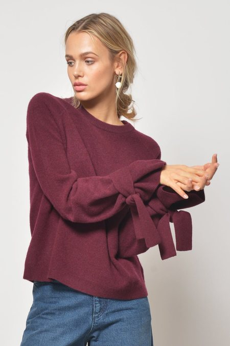Brown Allan Tie Top Sweater - Bordeaux
