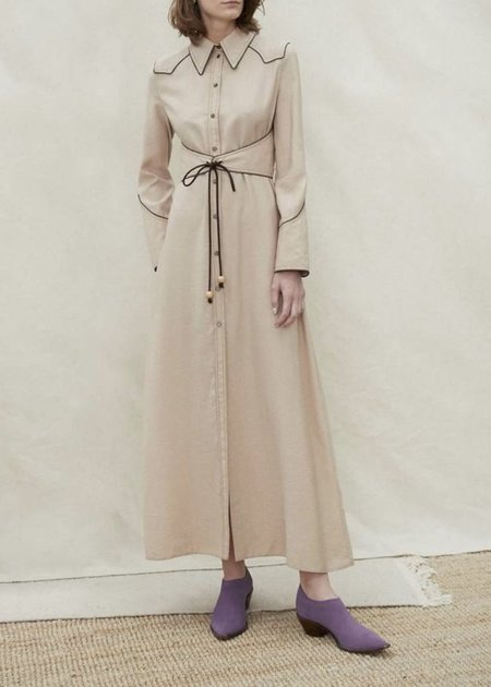 NANUSHKA Parx belted western shirt dress - beige
